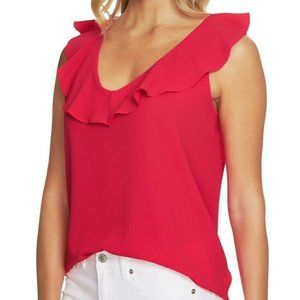 CeCe Cynthia Steffe V-Neck Ruffled Blouse Pink 002